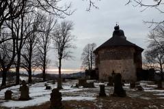 Kostel sv. Matouše při západu slunce.